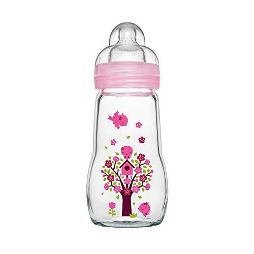 MAM Feel Good Babyflasche aus Glas (260 ml) - rosa Babyflasche mit weiter Öffnung - stabile Baby Trinkflasche mit Sauger Gr. 1, ab der Geburt, Naturmotive, rosa