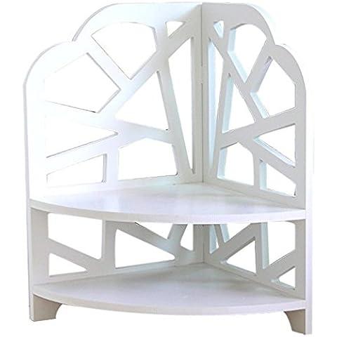 Drasawee plegable 2capas de madera cocina baño dormitorio esquina escritorio de oficina estante unidad de almacenamiento organizador, white 1#, 30*20*27cm