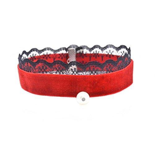 YAZILIND Bijoux Gothique Femmes Tattoo Choker Collier Velvet flanelle Black Lace Faux Perle Pendentif pour Patty rouge