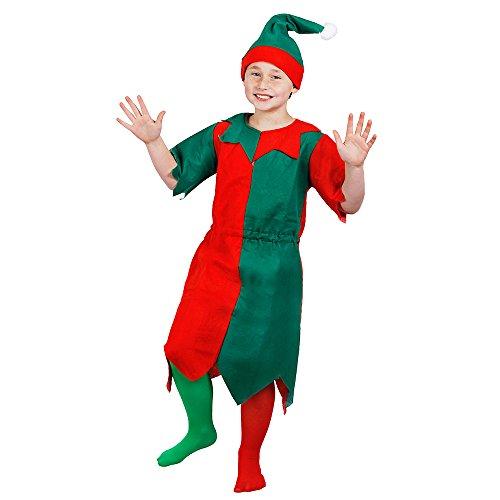 Imagen de i love fancy dress ilfd7009s del niño verde y rojo unisex elfo con bordes dentados y gorro a juego disfraz tamaño pequeño, 3–4años