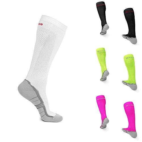 Kompressionsstrümpfe von KAIZEN High Performance Sport Socken Stützstrümpfe Kompressionssocken (Weiß, EU 39 - 42 /// UK 7 - 9)