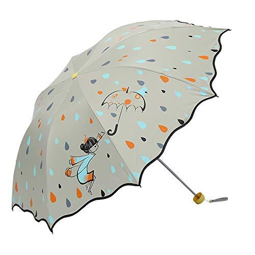 Folding Regenschirm Frauen Stilvolle 8 Knochen UV Cut wind- und wasserabweisend Tough Gut gewürzt pendentifs To School Reisen Mit Aufbewahrungstasche Leicht ( Color : Beige , Size : Kostenlos )