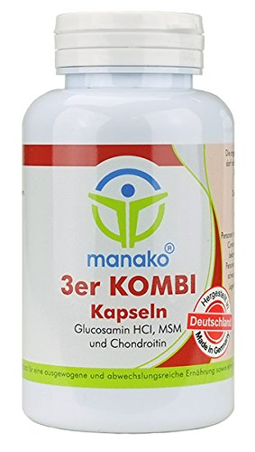 manako 3er KOMBI Kapseln Glucosamin MSM Chondroitin, 120 Stück, Dose 84 g (1 x 120 Kapseln)