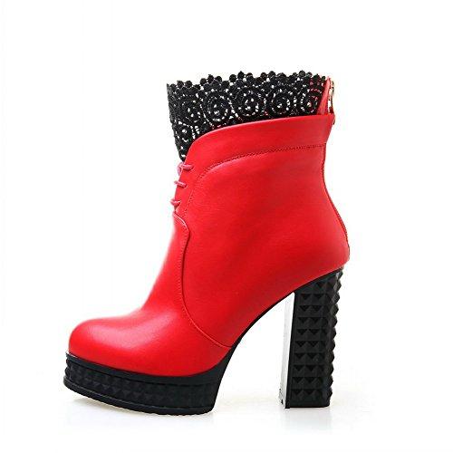 AgooLar Damen Gemischte Farbe Hoher Absatz Rund Zehe Pu Leder Reißverschluss Stiefel Rot