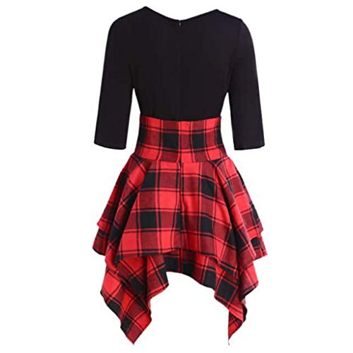 Linkay Damen T Shirt Sommer Plaid Print Asymmetrical Mini Kurzarm Lässiger O-Neck Bluse Tops 2019 Mode Schnüren Sie Sich Tartan Oberteile(Rot, XX-Large)