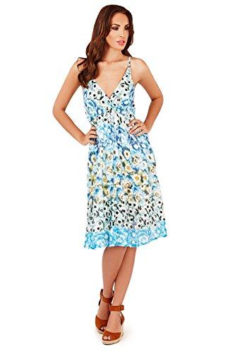 Femmes Pistachio Floral Ou Imprimé Aztèque Midi Femmes Coton Robe Bretelle Bleu Fleurs