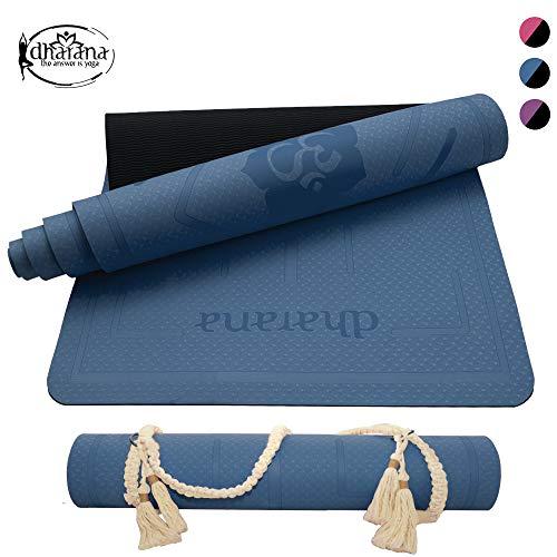 Dharana YogaMatte rutschfest -Yoga Matte Professionelle TPE - Dicke Gymnastik Matte Pilates Fitness Sport Ökologisches Material - Zubehör Makramee Mattenband zum Transport (Blue)