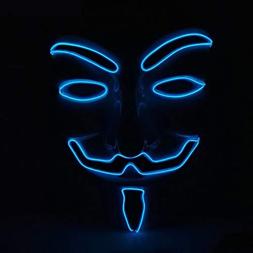 Halloween Maske, JunYee LED Anonymous Hacker Gesichtsmaske für Kostüm, Party, Festival, Cosplay, Halloween (Dunkelblau)