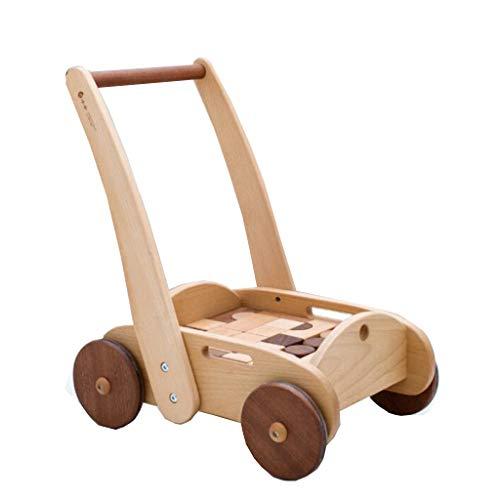 QHWJ Baby Walker, Aktivität Holz-Multifunktions-Anti-Rollover-Allrad sitzen kann spielbar Geschwindigkeit höhenverstellbaren Wagen mit Bausteinen Sein -