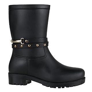 Stiefelparadies Damen Gummistiefel Stiefeletten Regen Schuhe 144446 Schwarz Nieten Arriate 37 EU Flandell