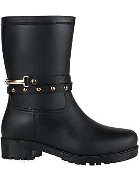 Rockige Damen Stiefeletten Gummistiefel Profilsohle Wasserdichte Boots Stiefel Gumistiefeletten Lack Damenschuhe...