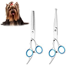 UEETEK 2pcs gato de perro de mascota tijeras de preparación de acero inoxidable cuchilla de mascotas