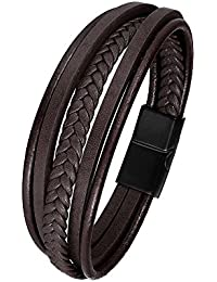 637426630df6 IDÉE CADEAU ⭐ Bracelet pour homme en cuir véritable - Fermoir aimanté -  Design multicouches classique et tressé - 2 coloris - Idéal pour…