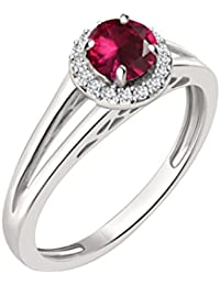Silvernshine 7mm Ruby & Sim Diamond Halo Engagement Ring In 14K White Gold Plated