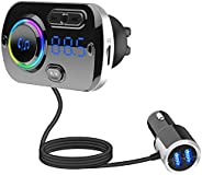Guoying FM Transmitter Bluetooth FM Transmitter Radio Adapter Car Kit with QC3.0 Fast Charger Music Player TF