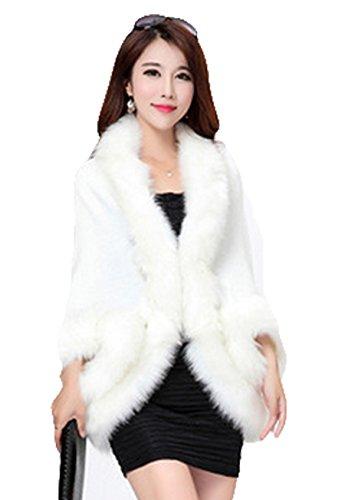 PLAER femmes mode élégant Fox fausse fourrure châle Cardigan manteau cape crème laiteux