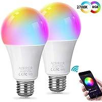 AISIRER Bombilla Inteligente Bombilla WiFi LED Blanco Suave 2700K+ RGBW Multicolor Compatible con Amazon Alexa Echo,Echo Dot Google Home No se requiere hub Regulable E27 7W 580LM (paquete de 2)