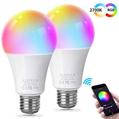 AISIRER Smart Lampe WLAN Glühbirnen Wifi LED Weiches Weiß 2700K+RGB Birne Kompatibel mit Amazon Alexa Echo,Echo Dot Google Home Kein Hub Erforderlich Dimmbares Mehreren Farben E27 580LM 7W 2 Stück