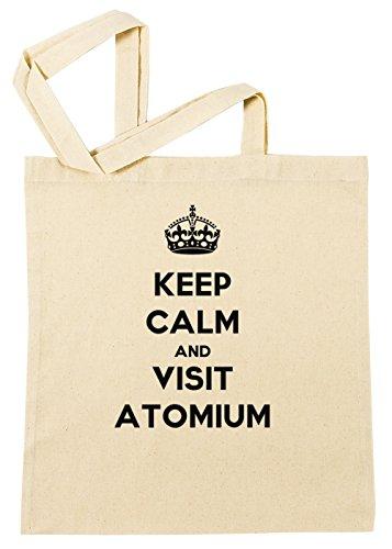 Keep Calm And Visit Atomium Einkaufstasche Wiederverwendbar Strand Baumwoll Shopping Bag Beach Reusable