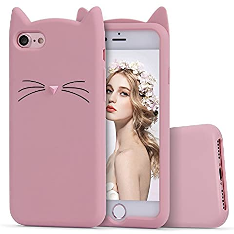 iPhone 7 Silicone Case,Imikoko™ Slim-Fit Anti-Scratch Shock Proof Soft Silicone Case With Cute Cat Pattern for iPhone 7 (4.7 inch) (Rose Gold)
