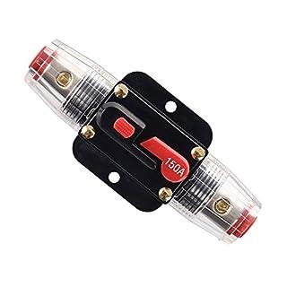 Rkurck 150A Schutzschalter, Sicherungshalter Manuelle Rückstellung Inline-Sicherungsblock für Auto Audio Marine Trolling Motoren Boot ATV Audio Solar Wechselrichter system Schutz 12V-24V DC 150 Amps