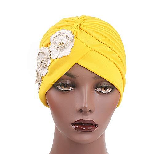 Ogquaton Turban Hütte Chemotherapie Caps Chemotherapie Frauen Sommer Stil Kleidung Frauen Indien Afrika Muslim Elastic Turban Hut Appliques Hut Kopftuch Wrap