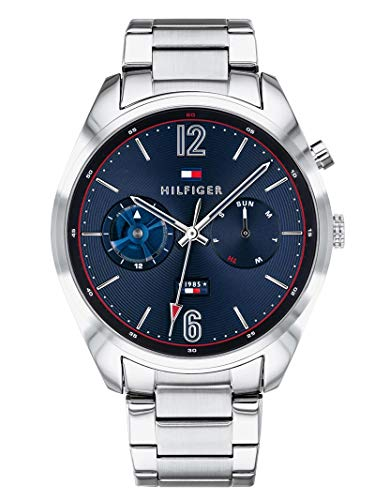 Tommy Hilfiger Herren Multi Zifferblatt Quarz Uhr mit Edelstahl Armband 1791551