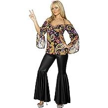 Disfraz años 70 hippie para mujer vestido cultura pacifista flower power