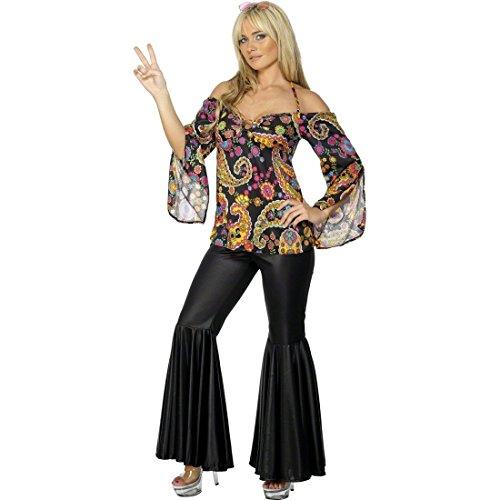 Siebziger Kostüm - NET TOYS 70er Jahre Hippie Kostüm Damen Hippiekostüm XL 48/50 Flower Power Damenkostüm Hippieoutfit Schlagermove
