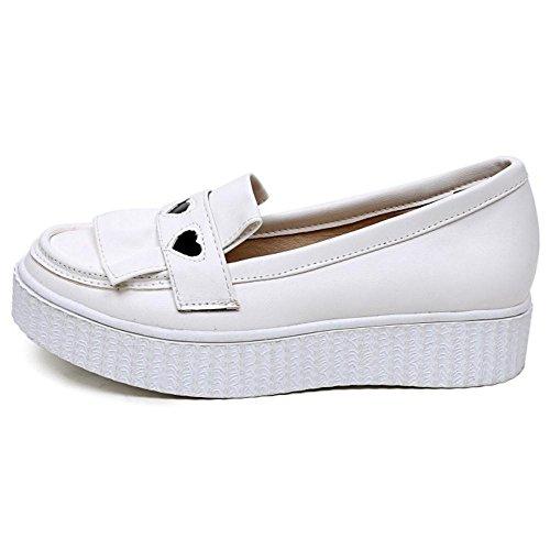 TAOFFEN Femme Mode A Enfiler Plat Escarpins Bas Decontracte Mocassins Chaussures Blanc