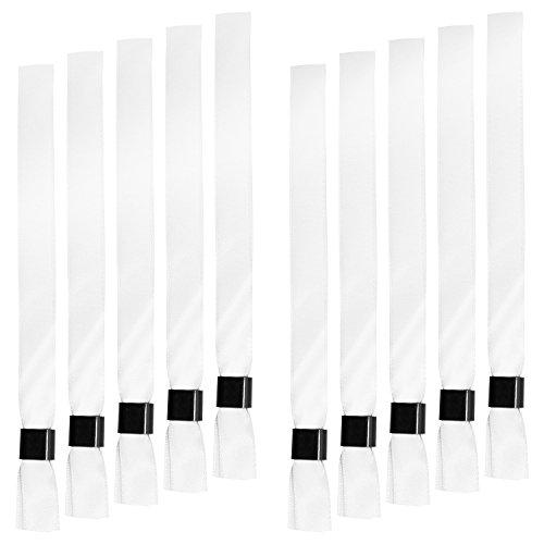 Eintrittsbänder - 10 Stück - Weiß - Festival Armband Textil mit Verschluss - fertig zum Anlegen - Stoff-armband Verschluss