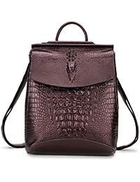 Mochila de cocodrilo para mujer mochila de cuero cómoda mochila de ocio al aire libre