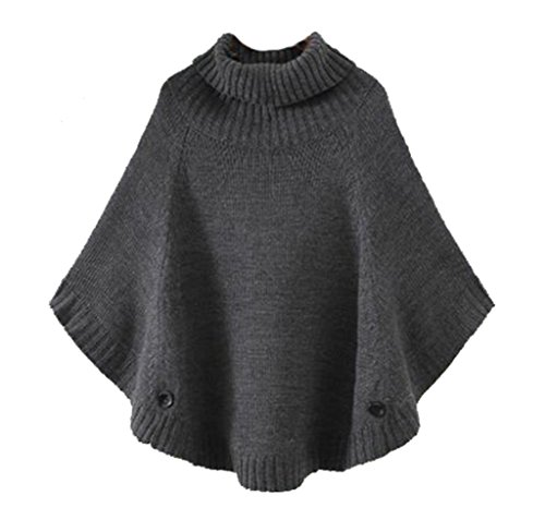 Cheerlife Mädchen Damen Grobstrick Poncho Pullover Strick Cape Umhang  Fledermaus Sweater Top. 5ebfa02c6d