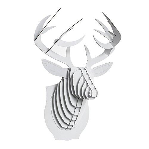 CARDBOARD SAFARI Tête de cerf Blanc en Carton - Blanc, Small