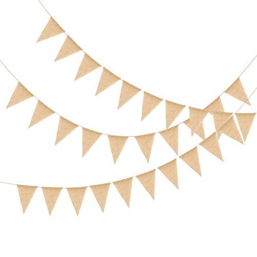 KATOOM 12M Wimpelkette Outdoor 50Pcs Jute Wimpel Vintage Hochzeit Wimpelgirlande Flaggen Leinen Einschulung Deko für Draußen Kinderzimmer Geburtstag Party Dekoration