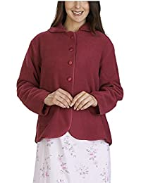 0bb3af4cef46 Slenderella Ladies Anti-Pill Polar Fleece Button Up Long Sleeved Bed Jacket  (Purple Raspberry