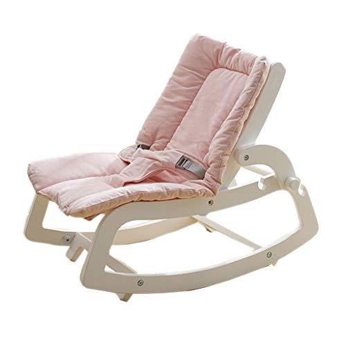 Sedia a dondolo in legno massello cestino a pelo pigro lettino da sdraiati lenitivo 2 colori 70cm * 40cm mumujin (colore : white chair powder pad)
