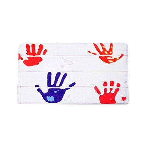 starnearby Flanell Fußmatte Fingerabdruck rutschfeste Teppich Wohnzimmer Badezimmer Küche Teppich 40x 60cm (Handabdrücke Teppich)