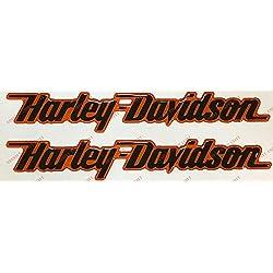 Escudo Logo Decal Harley Davidson, par Pegatinas resinati, Negro/Naranja, Efecto 3D. para depósito o Casco.