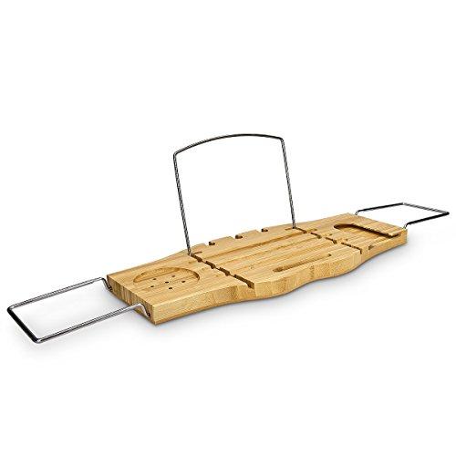 Navaris bandeja para baño de bambú barnizado   estante para bañera extensible con fijadores de acero   tabla soporte para bebidas y libros