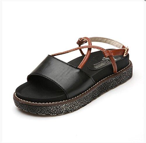 XY&GKDamen Sommer Sandalen Schuhe Retro Muffin mit Schule 38 black