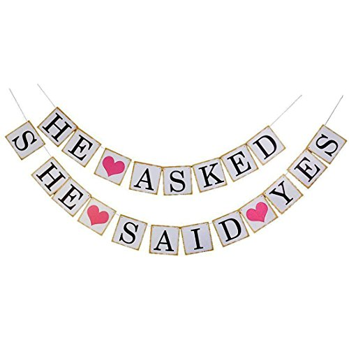 sourcingmap® HE ASKED SHE SAID YES Buchstabe Hochzeit Party Foto Halter Banner Set 20 in 1