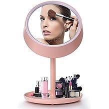 Make up Spiegel mit LED Lichter & Touchscreen Kosmetikspiegel LED beleuchtet mit 180 ° schwenkbare Rotation, Spiegel Tischleuchte für Bad, Schlafzimmer, Desktop, Tischplatte, Rosa