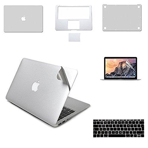i-Buy 6in1Full Body Skins Aufkleber Sticker für Apple MacBook Air 33cm Full Haut + Palm Guard + Displayschutzfolie + Tastatur Cover-Gold Silber MacBook pro 13.3
