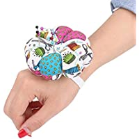 HEEPDD Pin Cushion, Wrist Wearable Floral Pumpkin Design Storage Pins Pillow for Needlework Sewing Gift 3.93 Inch(#1)