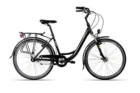 HAWK Bikes Green City Plus Wave - Damen Citybike mit Aluminiumrahmen und 7-Gang Nabenschaltung (28 Zoll, Rahmengröße 44 cm)