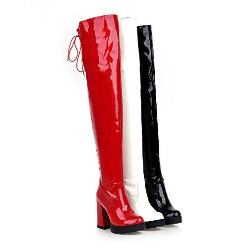 YE Damen High Heels Plateau OverKnee Lack Schnürstiefel High Boots mit Blockabsatz Reißverschluss Winter Schuhe Weiß