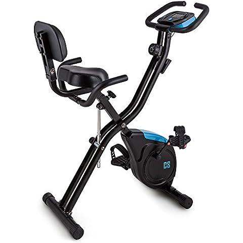 Capital Sports Azura 2 X-Bike Cyclette pieghevole con maniglie laterali e schienale (display LCD per allenamento, sedile extra large ergonomico) - nero / blu