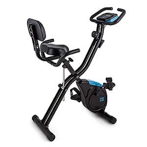 Capital Sports X-Bike Azura 2 Vélo d'appartement pliable (ordinateur de bord, 8 niveaux de résistance, selle avec dossier et poignées, force d'inertie de 3kg)