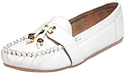 Bare Soles Womens White Synthetic Loafers - 4 UK